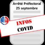 FERMETURE COVID : Arrêté préfectoral du 25 septembre 2020